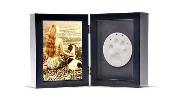 Tabletop Photo Paw Print Urn - Black Image