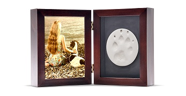 Tabletop Photo Paw Print Urn - Mahogany Image
