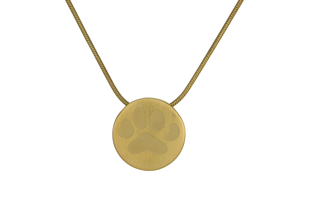 Round Pendant with Large Paw- Bronze Image