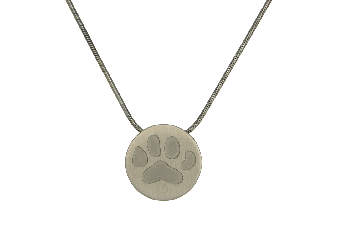 Round Pendant with Large Paw- Pewter Image