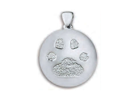 Custom Paw Print or Nose Print Charm - Silver Image